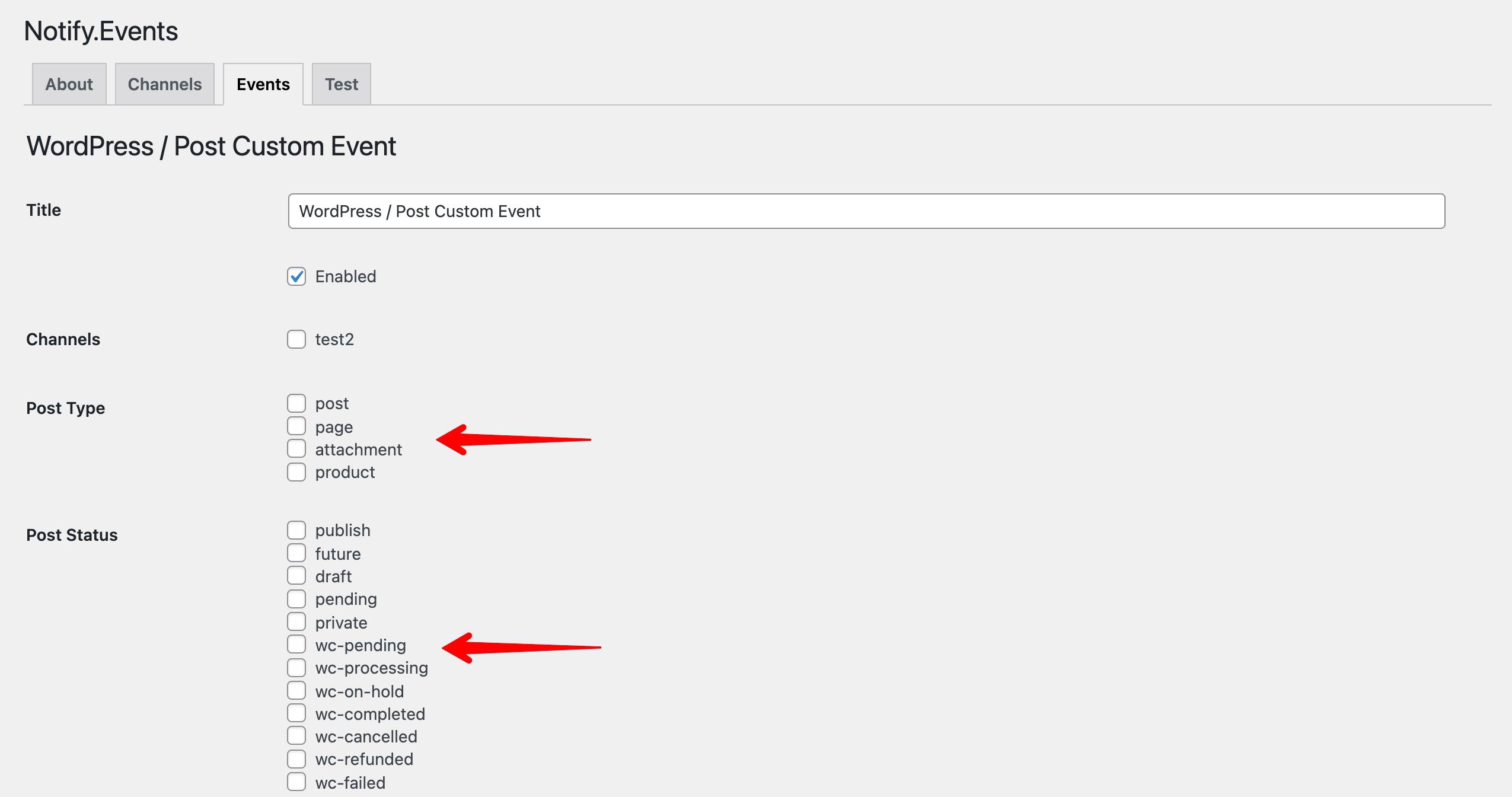 Post Type Status in the Notify.Events WordPress Plugin