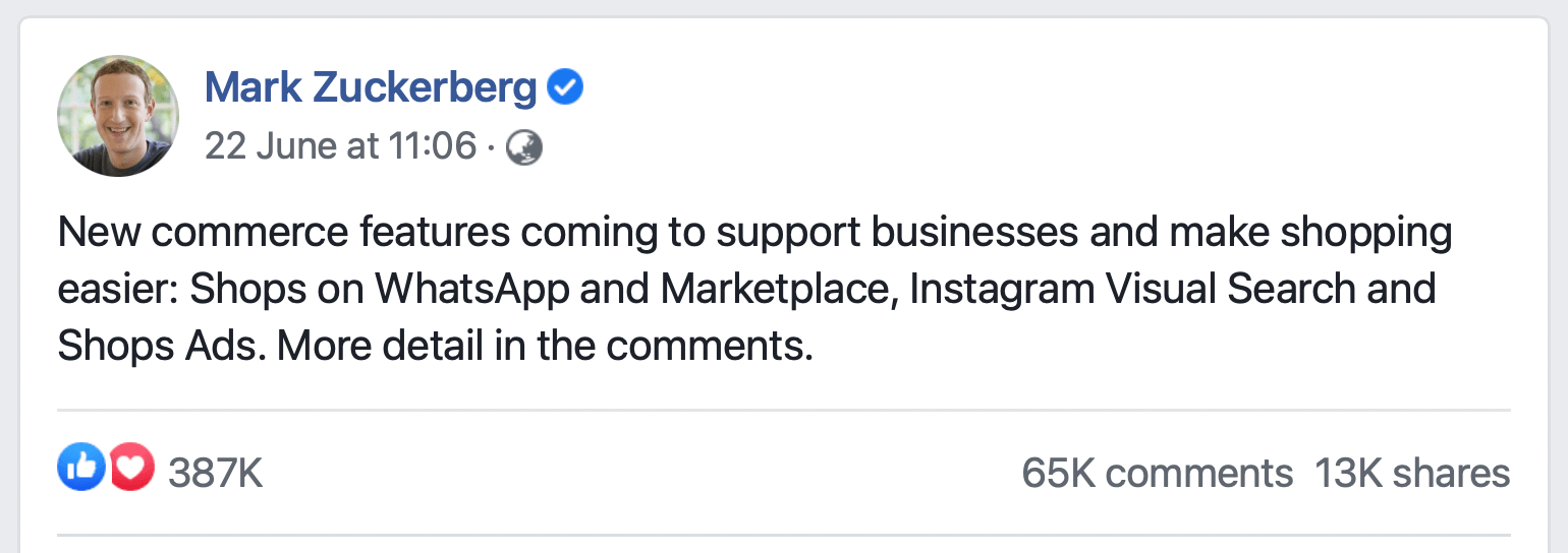 Mark Zuckerberg Post about new Facebook ecommerce features
