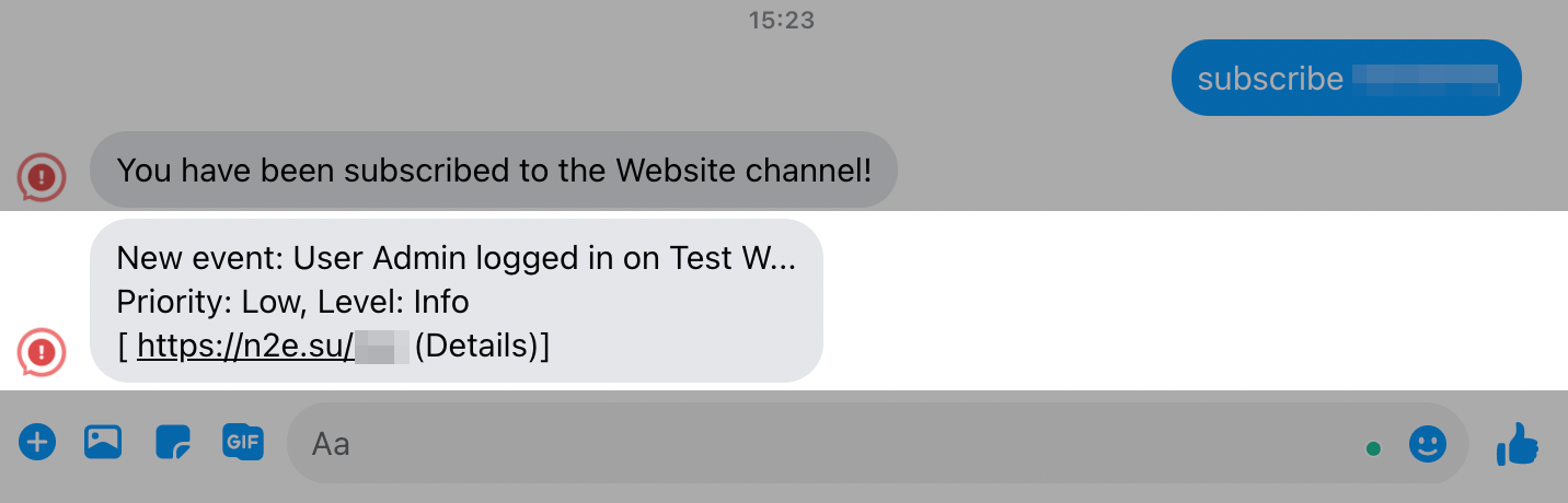 Facebook message to Notify.Events