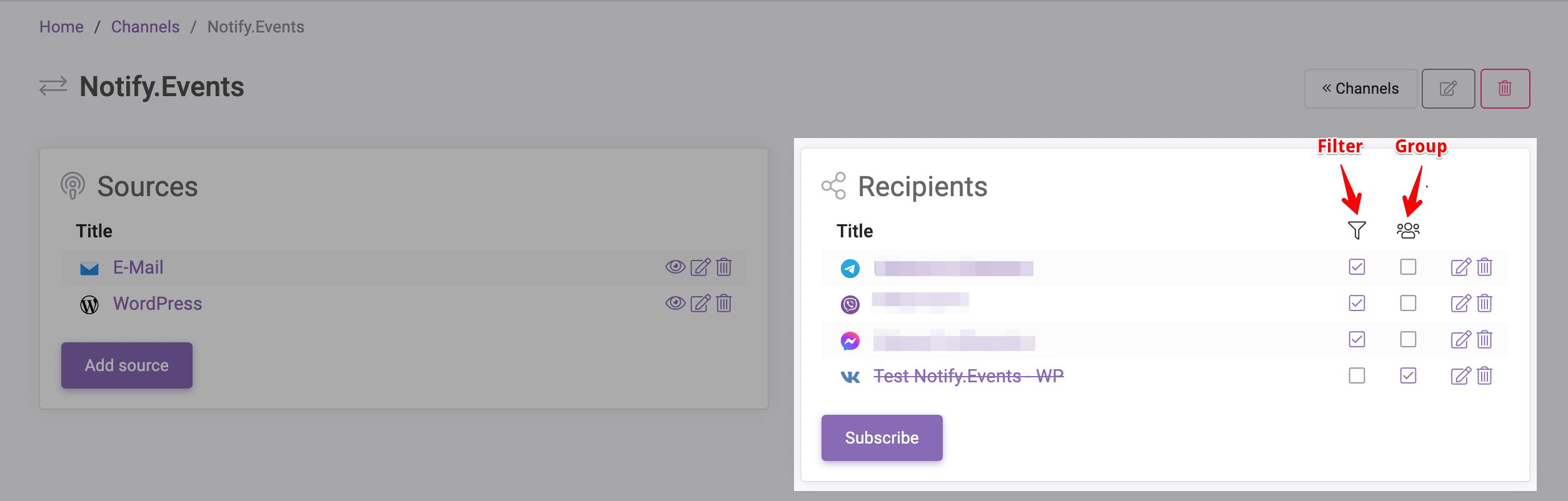 Notify.Events Recipients